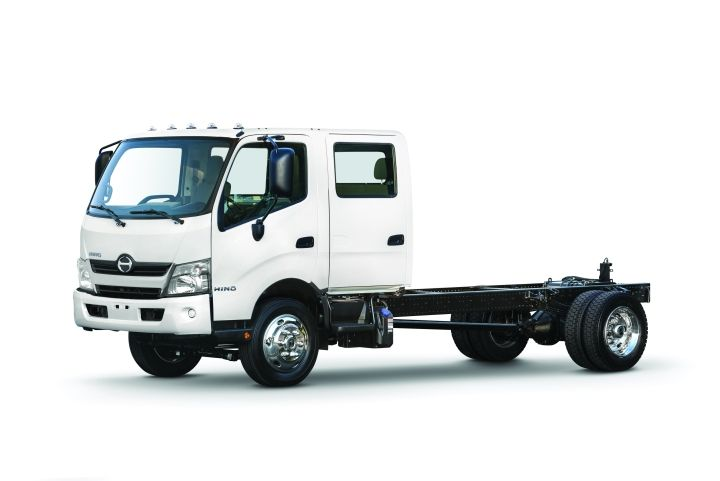 The Hino 195 diesel and 195h diesel-electric hybrid are now available as a standard two-door cab, or as an optional four-door double cab. -