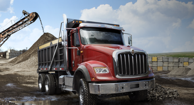 The HX615 with dump body is powered by the Navistar N13 diesel, an inline six-cylinder engine with ratings up to 475 hp and 1,700 lb.-ft. of torque. (PHOTO: International) -