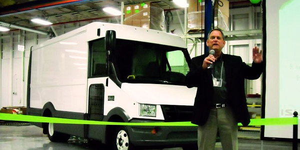 Shaun Skinner, EVP and general manager for Isuzu Commercial Truck of America, presents during...