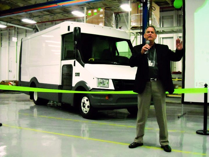 Shaun Skinner, EVP and general manager for Isuzu Commercial Truck of America, presents during the ribbon-cutting ceremony. -