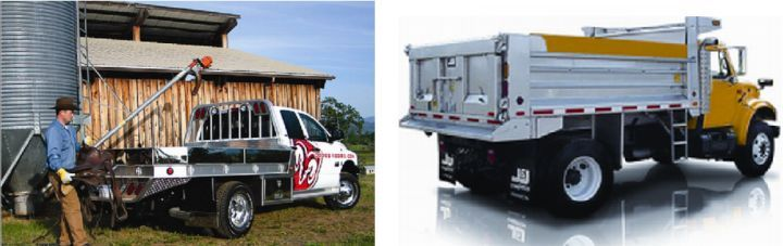 (left) Aluminum truck body; (right) Stainless steel truck body -