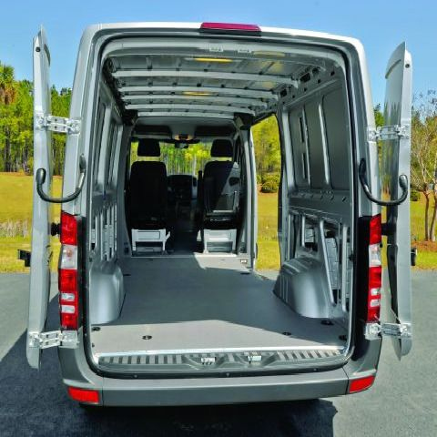 Available in three different body lengths and two roof heights, the Sprinter Cargo Van features best-in-class payload capacity of 5,375 lbs. and cargo capacity of up to 547 cubic feet. -