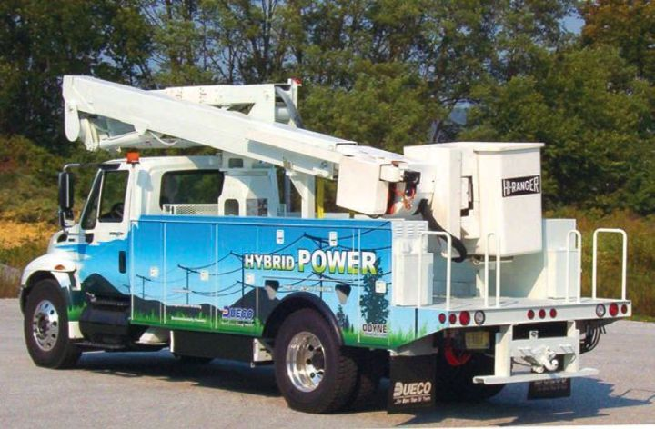 Odyne partnered with utility equipment manufacturer Dueco to develop an electric-powered aerial lift truck that can operate up to eight hours on one charge. -