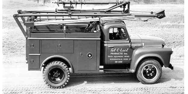 A circa 1950s Tel-E-Lect International truck with auger transfer bracket. Photo: Terex.