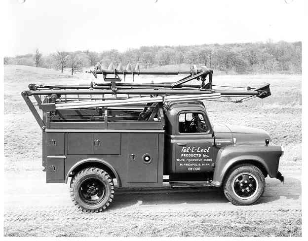 A circa 1950s Tel-E-Lect International truck with auger transfer bracket. Photo: Terex. -