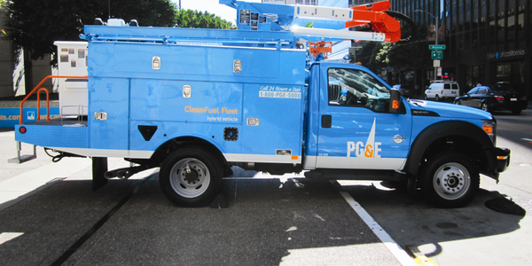 """The bucket trucks are """"trouble trucks,"""" the first vehicles to arrive on the scene in the event..."""
