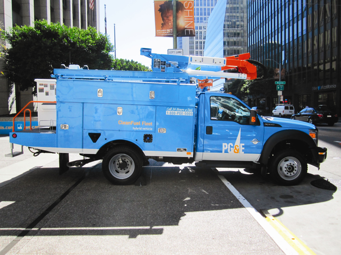 """The bucket trucks are """"trouble trucks,"""" the first vehicles to arrive on the scene in the event of an emergency or service interruption. -"""