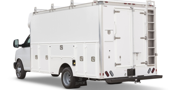 The Supreme Spartan Service Body features a  horizontal compartment door that can be used as a...