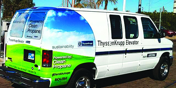 ThyssenKrupp currently operates 47 E-150 vans in six different markets.