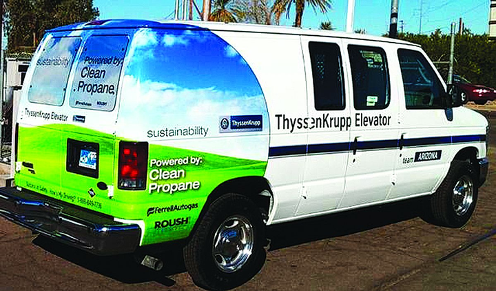 ThyssenKrupp currently operates 47 E-150 vans in six different markets.  -