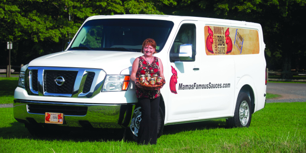 "Valecia Vanderlick is able to load a full pallet of ""Mama's Famous Barbecue Sauce"" into her..."