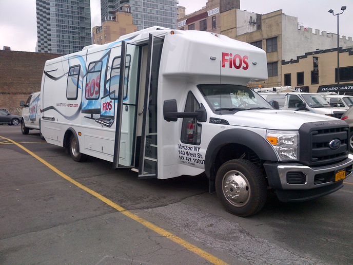 Verizon utilizes 25 FiOS buses to transport 14 technicians per bus to jobsites in New York City and surrounding areas, reducing the flight by 300-plus vehicles.  -