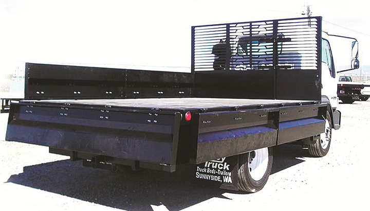 A contractor's dump is similar to a standard flatbed with short (12- to 24-inch) solid sides that fold down to create unfettered access to load the body. -