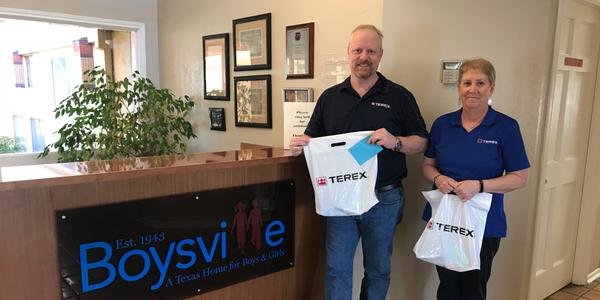 Dan Horton and Sue Perkins from Terex delivered 100 hygiene kits to Boysville in January. Photo...
