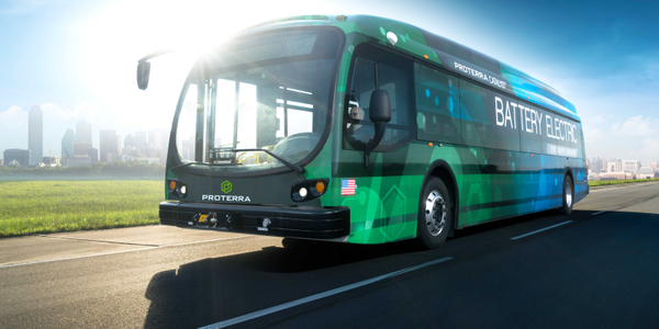 Photo of a 40-foot Proterra Catalyst E2 battery-electric bus courtesy of Proterra