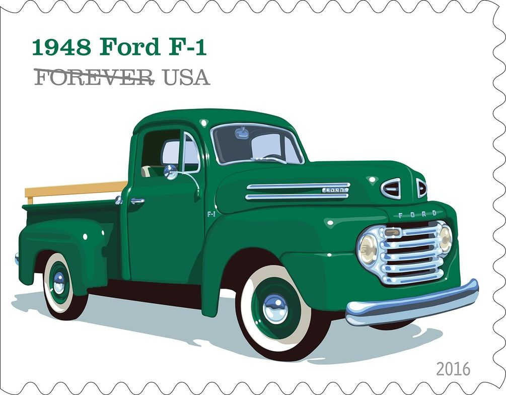 """The 1948 Ford F-1 included features like the roomy """"million dollar cab,"""" a sharp horizonatl..."""