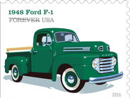 "The 1948 Ford F-1 included features like the roomy ""million dollar cab,"" a sharp horizonatl..."