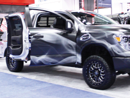 """The ultimate tailgating and barbecuing pickup truck, Nissan displayed its """"Smokin' TITAN."""""""