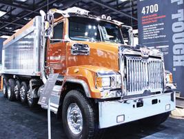 Western Star displayed several models, including a 4700SB (set-back axle) dump truck.