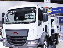 A street sweeper upfit from Tymco, the DST-6, was featured on a Peterbilt Model 220.