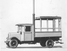 This sketch demonstrates a second upfit concept for early 1920s electrical trucks.