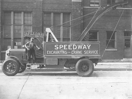 This unique truck is a 1920s Speedway Excavating and Crane Service truck. 