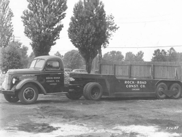 In 1937, Rock Road Construction Co. utilized this General Motors truck and trailer in...