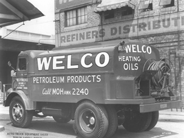 In 1947, WELCO Petroleum Products utilized this upfit truck for hauling and distributing...