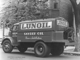 Snyder & Sons delivered Lunoil in 1951 in this upfit truck, as well as specialized in burner...