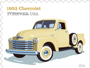 The 1953 Chevrolet featured large windshield, distinctive curvy grille, and a six-cylinder engine.