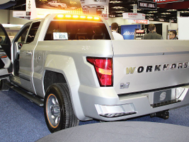 The W-15 plug-in hybrid-electric truck from Workhorse was on the show floor featuring safety...
