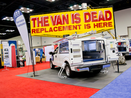 "Maranda Products was taking a stand with it's ""The Van is Dead"" signage above its products."