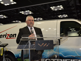 Ken Sparks of Verizon talks to the press about the new van from VIA Motors.