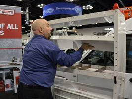 During the WeatherGuard press conference, the company demonstrated its quick change shelving...
