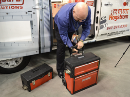 During the WeatherGuard press conference, the company demonstrated its new tool box system.