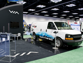 VIA Motors Booth with the Verizon van.