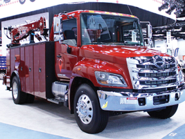 Hino Trucks displayed its tested Model 338 (pictured) featuring a service body upfit as well as...