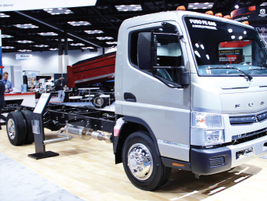 Mitsubishi Fuso presented production- ready models of its gasoline-powered FE Class 4 cabover.