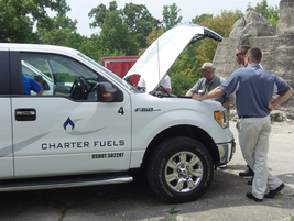 Bill Langlois and Josh Budworth of Charter Fuels exhibited two autogas Ford F-150s and propane...