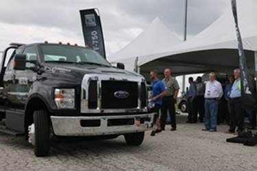 Participants review the 2016 F-650 gasoline straight frame with improved ride quality.