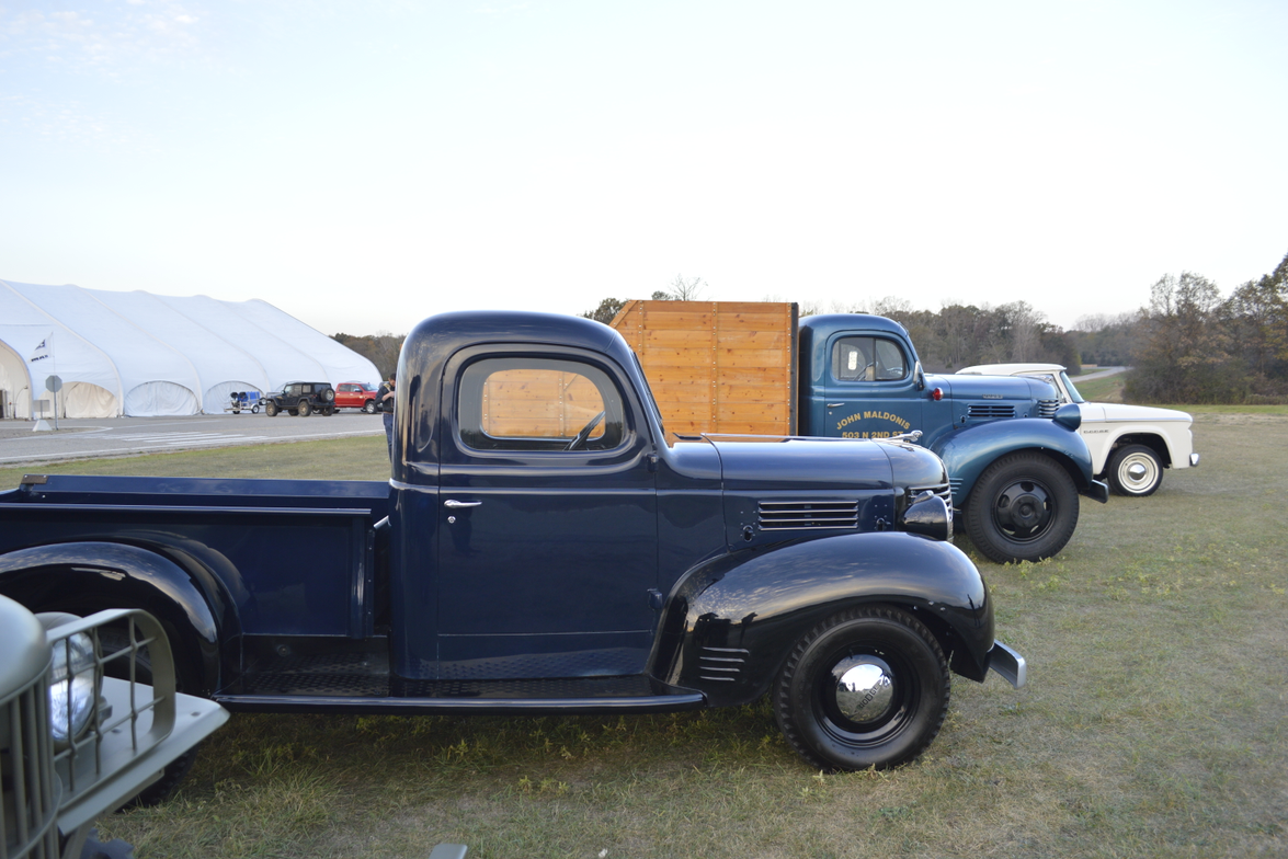 Dodge classic trucks from the 1940s and 1960s were lined up and ready to go.