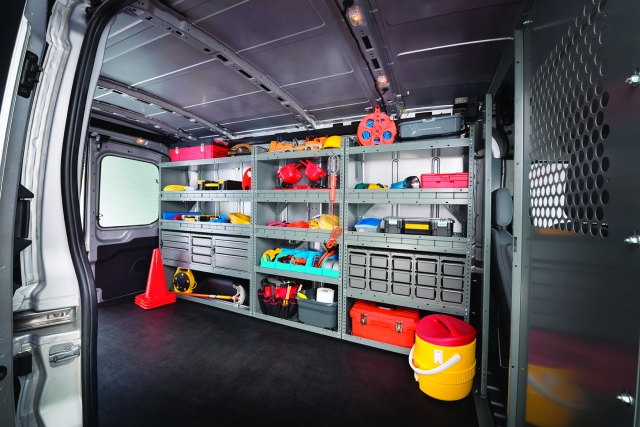 Full rack and bin systems can keep vans organized and tools and materials safely in place....