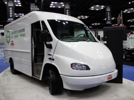 Showcased vehicle from Electric Vehicles International with a custom Freightliner chassis.