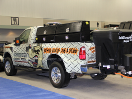 Vehicle product display from Buyers Product Company, which manufactures snow plows, salt...