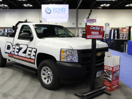 Truck accessories group DeeZee displays its product offerings, including this truck's bed liner...