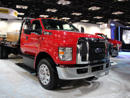 Ford unveiled the new Ford F-650 (pictured) and F-750 Super Duties at the show. (PHOTO: Lauren...