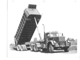 Lewes & Sons used this large dump truck in the 1950s, shown with dump lifted. 