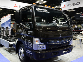 Mitsubishi Fuso also displayed a production-ready model of its battery-electric eCanter. Photo:...