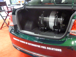 The Impco Automotive CNG bifuel conversion comes with an 8.4 gas-gallon equivalent (GGE) tank...