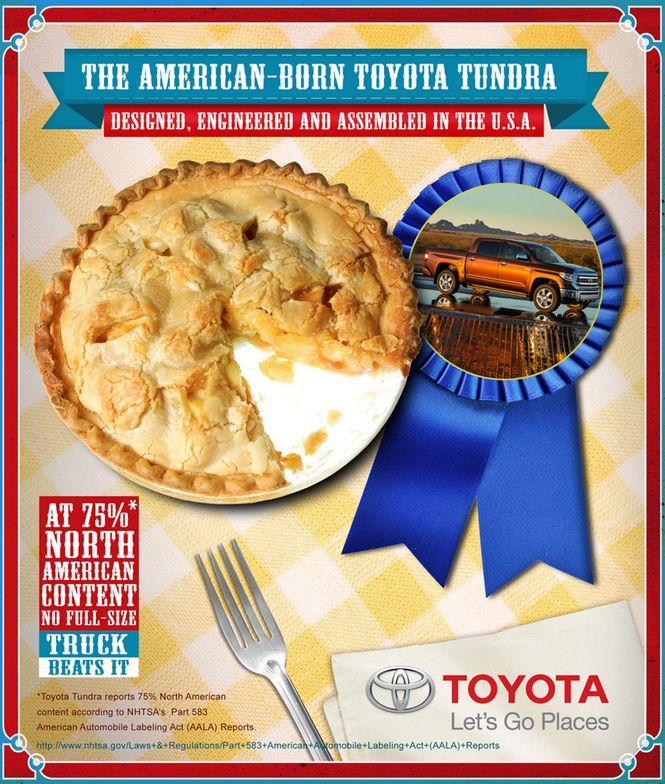 Toyota Tundra is designed, engineered and assembled in the U.S.A. iwth 75 percent North American...